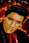 'ELVIS FANS', ELVIS PRESLEY WALL CARPET ON SALE IN THE SHOP 'ELVISLY YOURS', WHICH SELLS MEROBILIA & SOUVENIRS OF 'THE KING', LONDON