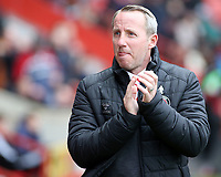 Charlton Athletic manager Lee Bowyer  greets the home support before kick off<br /> <br /> Photographer David Shipman/CameraSport<br /> <br /> The EFL Sky Bet League One - Charlton Athletic v Blackpool - Saturday 16th February 2019 - The Valley - London<br /> <br /> World Copyright © 2019 CameraSport. All rights reserved. 43 Linden Ave. Countesthorpe. Leicester. England. LE8 5PG - Tel: +44 (0) 116 277 4147 - admin@camerasport.com - www.camerasport.com