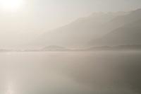 Italy, Lago di Como, Lario, Lake Como, Gera Lario, Fog, Morning Sun