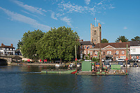 """Henley on Thames, United Kingdom, 3rd July 2018, Tuesday,   """"Henley Royal Regatta"""",  view, Course Construction, marine, """"Pile Driver"""" moving past St Mary's Church, Henley Reach, River Thames, Thames ValleyEngland, © Peter SPURRIER,"""