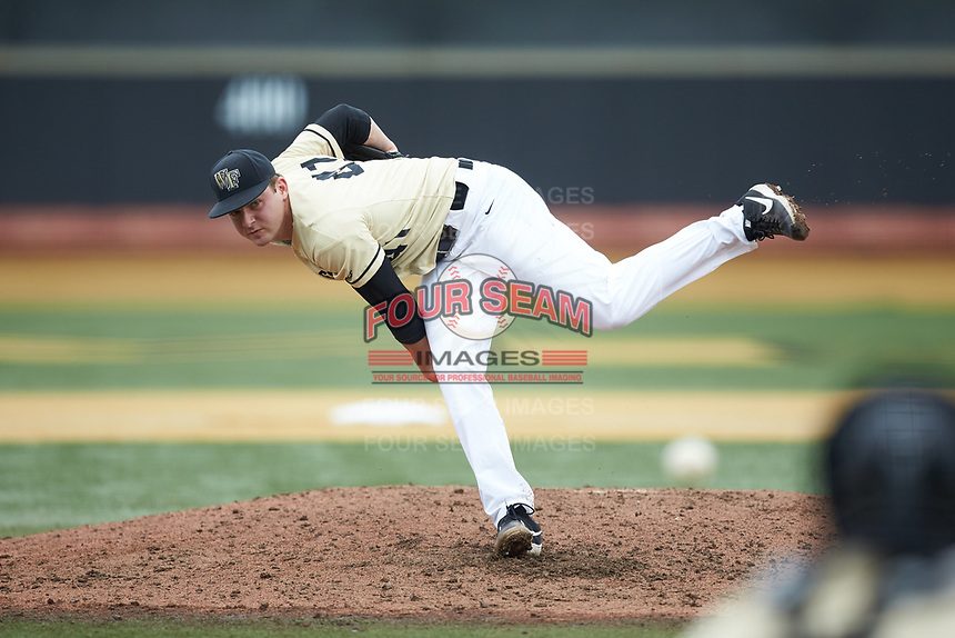 Wake Forest Demon Deacons starting pitcher Jared Shuster (41) delivers a pitch to the plate against the Miami Hurricanes at David F. Couch Ballpark on May 11, 2019 in  Winston-Salem, North Carolina. The Hurricanes defeated the Demon Deacons 8-4. (Brian Westerholt/Four Seam Images)