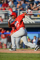 Auburn Doubledays outfielder Wilman Rodriguez #18 during a game against the Batavia Muckdogs on June 18, 2013 at Dwyer Stadium in Batavia, New York.  Batavia defeated Auburn 10-2.  (Mike Janes/Four Seam Images)