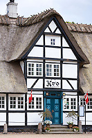 Vester Skerninge Kro, an ancient 18th Century inn half-timbered thatched hotel on Funen, Denmark