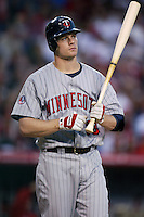 Justin Morneau of the Minnesota Twins during a 2007 MLB season game against the Los Angeles Angels at Angel Stadium in Anaheim, California. (Larry Goren/Four Seam Images)
