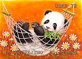 Kayomi, CUTE ANIMALS, paintings, HammockPandaYellow_M, USKH72,#AC# illustrations, pinturas ,everyday