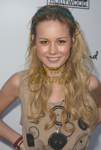 "BRIE LARSON .""Remember The Daze"" Los Angeles Premiere held at the Egyptian Theater, Hollywood, California, USA, .08 April 2008..portrait headshot turquoise blue hairband  button print top .CAP/ADM/CH.©Charles Harris/Admedia/Capital PIctures"