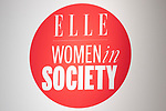 A logo of ELLE WOMEN in SOCIETY 2018 on display during its event on June 16, 2018, Tokyo, Japan. The annual event focuses on working women's role in the Japanese society through various seminars where top businesswomen, celebrities and leaders are invited to speak. (Photo by Rodrigo Reyes Marin/AFLO)