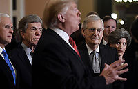 United States President Donald J. Trump talks to the press after the Republican Policy luncheon at the U.S. Capitol Building on January 9, 2019 in Washington, DC. Pictured from left to right: US Vice President Mike Pence, US Senator Roy Blunt (Republican of Missouri), the President, US Senate Majority Leader Mitch McConnell (Republican of Kentucky), and US Senator Joni Ernst (Republican of Iowa).<br /> Credit: Olivier Douliery / Pool via CNP /MediaPunch