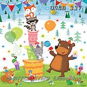 Sarah, CUTE ANIMALS, LUSTIGE TIERE, ANIMALITOS DIVERTIDOS, paintings+++++WoodlandBday-16-A,USSB337,#AC#,birthday,cake,fox,squirrel,bear,party ,everyday