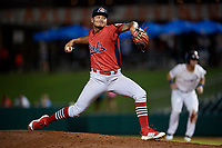 Peoria Chiefs relief pitcher Alvaro Seijas (22) delivers a pitch during a game against the Bowling Green Hot Rods on September 15, 2018 at Bowling Green Ballpark in Bowling Green, Kentucky.  Bowling Green defeated Peoria 6-1.  (Mike Janes/Four Seam Images)