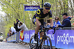 Direct Energie rider on the the first ascent of the Kemmelberg during the 2019 Gent-Wevelgem in Flanders Fields running 252km from Deinze to Wevelgem, Belgium. 31st March 2019.<br /> Picture: Eoin Clarke | Cyclefile<br /> <br /> All photos usage must carry mandatory copyright credit (© Cyclefile | Eoin Clarke)