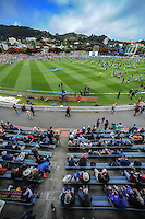 A general view of fans playing on the pitch at lunchtime during day one of the 2nd cricket test match between the New Zealand Black Caps and Sri Lanka at the Hawkins Basin Reserve, Wellington, New Zealand on Saturday, 3 February 2015. Photo: Dave Lintott / lintottphoto.co.nz