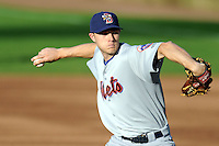 Binghamton Mets pitcher Eric Goeddel #33 during a game versus the Portland Sea Dogs at Hadlock Field in Portland, Maine on May 17, 2013. (Ken Babbitt/Four Seam Images)