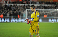 SWANSEA, WALES - JANUARY 17:   of  during the Barclays Premier League match between Swansea City and Chelsea at Liberty Stadium on January 17, 2015 in Swansea, Wales. Swansea's Lukasz Fabianski leaving the field