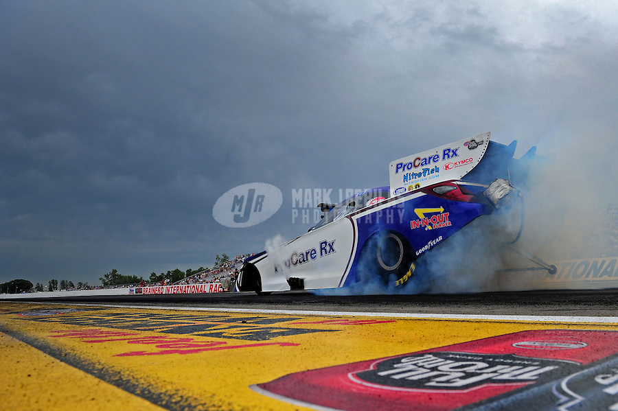 Aug. 19, 2011; Brainerd, MN, USA: NHRA funny car driver Melanie Troxel during qualifying for the Lucas Oil Nationals at Brainerd International Raceway. Mandatory Credit: Mark J. Rebilas-
