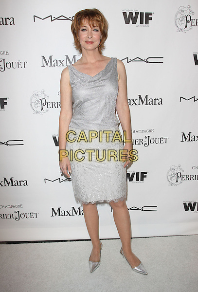 SHARON LAWRENCE.3rd Annual Women In Film Pre-Oscar Party held At A Private Residence, Bel Air, California, USA..March 4th, 2010.full length grey gray silver sleeveless dress shoes sparkly lace skirt top.CAP/ADM/KB.©Kevan Brooks/AdMedia/Capital Pictures.