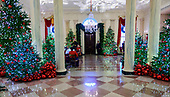 "The 2018 White House Christmas decorations, with the theme ""American Treasures"" which were personally selected by first lady Melania Trump, are previewed for the press in Washington, DC on Monday, November 26, 2018.  This is what a visitor will see when looking from the Blue Room through the Grand Foyer to the North Portico door.  <br /> Credit: Ron Sachs / CNP"