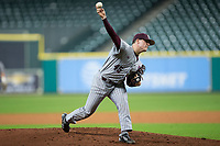 Mississippi State Bulldogs starting pitcher Jacob Billingsley (45) delivers a pitch to the plate against the Sam Houston State Bearkats in game eight of the 2018 Shriners Hospitals for Children College Classic at Minute Maid Park on March 3, 2018 in Houston, Texas.  The Bulldogs defeated the Bearkats 4-1.  (Brian Westerholt/Four Seam Images)