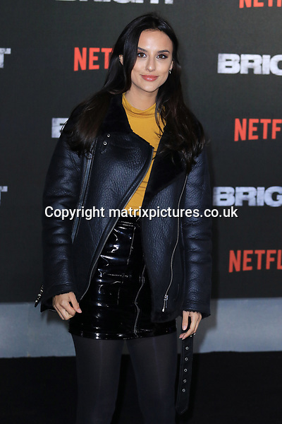 NON EXCLUSIVE PICTURE: MATRIXPICTURES.CO.UK<br /> PLEASE CREDIT ALL USES<br /> <br /> WORLD RIGHTS<br /> <br /> Made In Chelsea reality TV star Tiffany Watson attending the UK premiere of Netflix's 'Bright', held on London's Southbank.<br /> <br /> DECEMBER 15th 2017<br /> <br /> REF: MES 172875