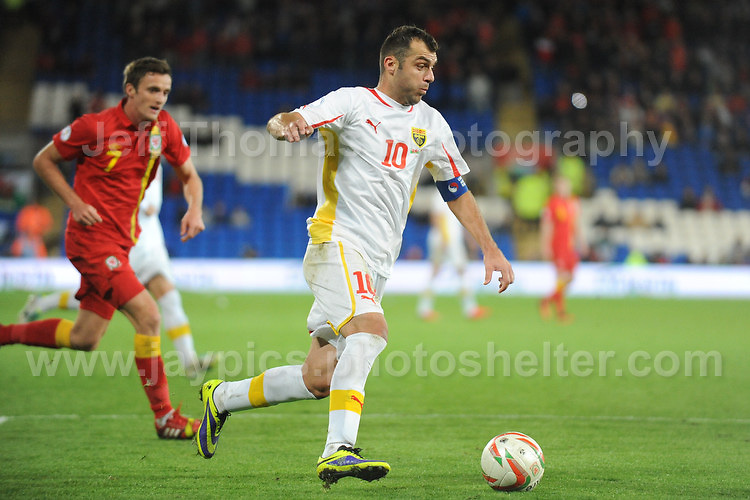 Cardiff City Stadium, Friday 11th Oct 2013. Goran Pandev of Macedonia is about to be challenged by Andy King of Wales during the Wales v Macedonia FIFA World Cup 2014 Qualifier match at Cardiff City Stadium, Cardiff, Friday 11th Oct 2014. All images are the copyright of Jeff Thomas Photography-07837 386244-www.jaypics.photoshelter.com