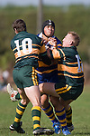 S. Pole is sandwiched by B. Clark & Nigel Watson. CMRFU Counties Power Premier Club Rugby game between Patumahoe & Pukekohe played at Patumahoe on April 12th, 2008..The halftime score was 10 all with Pukekohe going on to win 23 - 18.