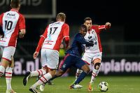 EMMEN - Voetbal, FC Emmen - Jong Ajax, Jens Vesting, Jupiler League, seizoen 2017-2018, 15-12-2017,  FC Emmen speler Hilal Ben Moussa met Jong Ajax speler Azor Matusiwa