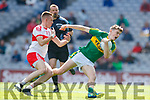 Diarmuid O'Connor Kerry in action against Oisin McWilliams Derry in the All-Ireland Minor Footballl Final in Croke Park on Sunday.