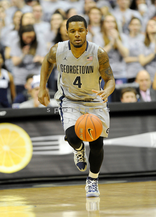 Georgetown Hoyas D'Vauntes Smith-Rivera (4) during a game against the Butler Bulldogs on February 8, 2014 at the Verizon Center in Washington, DC. Georgetown beat Butler 71-63.