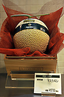 Musk Melons a Japanese variety of the honey dew melon sell for 15,000 yen each, approximately 150 pounds sterling in the Isetan epartment Store in Central Tokyo, Japan. September 1st, 2008.<br /> <br /> Photo by Richard Jones / sinopix