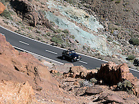 Open top jeep being driven in the Canadas nacional park. Tenerife, Canary Islands.
