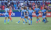 Portland, OR - Saturday June 17, 2017: Sky Blue FC celebrate during a regular season National Women's Soccer League (NWSL) match between the Portland Thorns FC and Sky Blue FC at Providence Park.