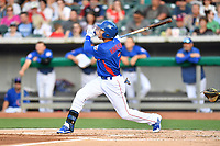 Tennessee Smokies center fielder Jacob Hannemann (7) swings at a pitch during a game against the Biloxi Shuckers at Smokies Stadium on May 26, 2017 in Kodak, Tennessee. The Smokies defeated the Shuckers 3-2. (Tony Farlow/Four Seam Images)