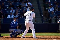 New York Yankees Josh Thole (30) bats in front of catcher Caleb Joseph (7) during a Spring Training game against the Toronto Blue Jays on February 22, 2020 at the George M. Steinbrenner Field in Tampa, Florida.  (Mike Janes/Four Seam Images)