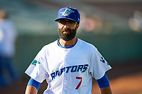 Ogden Raptors manager Mark Kertenian (7) before the game against the Orem Owlz in Pioneer League action at Lindquist Field on June 21, 2017 in Ogden, Utah. The Owlz defeated the Raptors 16-5. This was Opening Night at home for the Raptors.  (Stephen Smith/Four Seam Images)