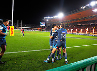The Blues celebrate Ihaia West's matchwinner during the 2017 DHL Lions Series rugby union match between the Blues and British & Irish Lions at Eden Park in Auckland, New Zealand on Wednesday, 7 June 2017. Photo: Dave Lintott / lintottphoto.co.nz