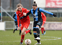 20180127 - AALTER , BELGIUM : Brugge's Kay Cuvelier (r) pictured in a duel with Standard's Yuna Appermon (left) during the quarter final of Belgian cup 2018 , a womensoccer game between Club Brugge Dames and Standard Femina de Liege , in Aalter , saturday 27 th January 2018 . PHOTO SPORTPIX.BE | DAVID CATRY