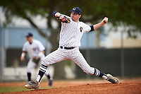 Western Connecticut Colonials starting pitcher Shane Bierfeldt (15) delivers a pitch during the first game of a doubleheader against the Edgewood College Eagles on March 13, 2017 at the Lee County Player Development Complex in Fort Myers, Florida.  Edgewood defeated Western Connecticut 3-0.  (Mike Janes/Four Seam Images)