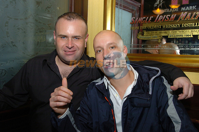 20th October, 2006. Enjoying a night out in The Cellar Bar are from L to R: Kieran McGlone and Ivor Harding (Both Drogheda).&amp;#xA;Photo: BARRY CRONIN/Newsfile.&amp;#xA;(Photo credit should read BARRY CRONIN/NEWSFILE)&amp;#xA;<br />