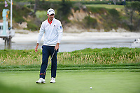 Nick Taylor (CAN) reacts to barely missing his birdie putt on 17 during round 4 of the 2019 US Open, Pebble Beach Golf Links, Monterrey, California, USA. 6/16/2019.<br /> Picture: Golffile | Ken Murray<br /> <br /> All photo usage must carry mandatory copyright credit (© Golffile | Ken Murray)
