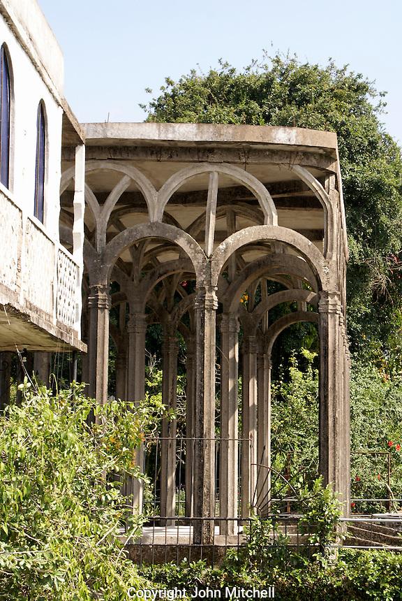 Concrete arches at the Posada El Castillo, former home of Edward James in Xilitla, San Luis Potosi state, Mexico