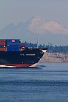 Container Ship, APL Oregon, American President Lines, inbound for Seattle, Mount Baker, Point Wilson Puget Sound, Admiralty Inlet, Washington State, Pacific Northwest, USA,