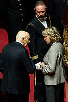 Giorgio Napolitano e Stefania Craxi<br /> Roma 23/03/2018. Prima seduta al Senato dopo le elezioni.<br /> Rome March 23rd 2018. Senate. First sitting at the Senate after elections.<br /> Foto Samantha Zucchi Insidefoto