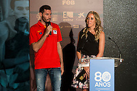 Rudy Fernandez and Marta Fernandez during the 80th Aniversary of the National Basketball Team at Melia Castilla Hotel, Spain, September 01, 2015. <br /> (ALTERPHOTOS/BorjaB.Hojas) / NortePhoto.Com