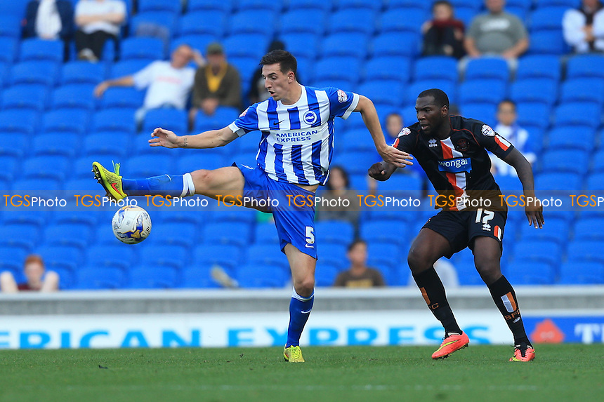 Lewis Dunk of Brighton & Hove Albion takes down a ball on the edge of the box - Brighton & Hove Albion vs Blackpool - Sky Bet Championship Football at the American Express Community Stadium, Falmer, Brighton - 20/09/14 - MANDATORY CREDIT: Simon Roe/TGSPHOTO - Self billing applies where appropriate - contact@tgsphoto.co.uk - NO UNPAID USE