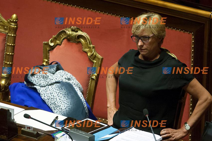 Roberta Pinotti<br /> Roma 30-07-2014  Senato. Discussione sul DdL Riforme costituzionali che prevede anche la riforma del Senato. <br /> Photo Samantha Zucchi Insidefoto