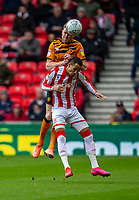 7th March 2020; Bet365 Stadium, Stoke, Staffordshire, England; English Championship Football, Stoke City versus Hull City; Tom Ince of Stoke City loses the header