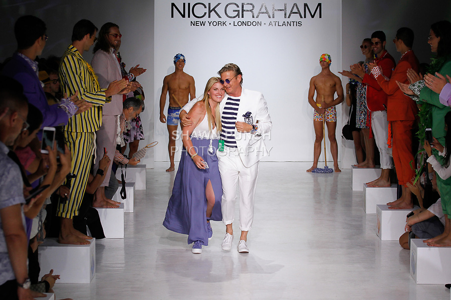 Fashion designer Nick Graham walks runway at the close of his Nick Graham Atlantis Spring Summer 2018 collection fashion show, in Skylight Clarkson Square on July 11, 2017; during New York Fashion Week: Men's Spring Summer 2018.