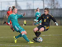 20180314 - TUBIZE , BELGIUM : Belgian Mirthe Claes (L) and German Mia Buchele (L) pictured during the friendly female soccer match between Women under 15 teams of  Belgium and Gemany , in Tubize , Belgium . Wednesday 14 th March 2018 . PHOTO SPORTPIX.BE / DIRK VUYLSTEKE