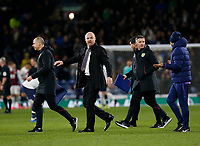 7th March 2020; Turf Moor, Burnley, Lanchashire, England; English Premier League Football, Burnley versus Tottenham Hotspur; Burnley manager Sean Dyche walks away at the end of the game with assistant Ian Woan and the rest of his backroom staff