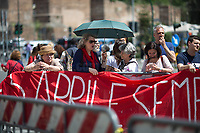 Rome, 25/04/2018. Today, to mark the 73rd Anniversary of the Italian Liberation from nazi-fascism ('Liberazione'), ANED Roma & ANPI Roma (National Association of Italian Partizans) held a march ('Corteo') from Garbatella to Piazzale Ostiense where a rally took place attended by Partizans, Veterans and politicians – including the Mayor of Rome and the President of Lazio's Region. From the organisers Facebook page:<<For the 25th of April, the 73rd Anniversary of the Liberation of Italy from nazi-fascism, while facing new threats to the world peace, it is necessary to remember that the Fight for Liberation triggered the greatest, positive, 'break' of the whole modern age of the Italian history. The Fight for the Liberation was supported by a great solidarity of the people. The memory of those who in the partizan struggle, in the camps of imprisonment, internment or extermination, opposed - even until the sacrifice of life - the dictatorship, the greed of territorial conquests, crazy ideologies of race supremacy, constitutes concrete warning against any attempt to undermine the foundations of the free institutions born of the Resistance. Memory is not an instrument of hatred or revenge, but of unity in a spirit of harmony without discriminations...<br /> (For the full caption please read the PDF attached at the the beginning of this story).<br /> <br /> For more info please click here: https://bit.ly/2vOIfNf & https://bit.ly/2r4iJy3 & http://www.anpi.it<br /> <br /> For the Wikipedia's page of the 'Liberazione' please click here: https://en.wikipedia.org/wiki/Liberation_Day_(Italy)<br /> <br /> For a Video of the event by Radio Radicale please click here: https://www.radioradicale.it/scheda/539534/manifestazione-promossa-dallanpi-in-occasione-della-73a-festa-della-liberazione